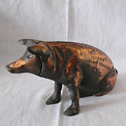 SALE Rare Vintage Chicago Stockyard Souvenir Cast Iron Piggy Bank 1940-50s Very Good Vintage .