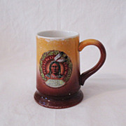 Vintage  Advertising Mug Round Oak Stoves Indian Chief Doe-Wah-Jack Motif 1907 Very Good Condi
