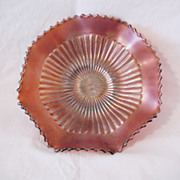SALE Vintage Northwood Carnival Glass Rare 9 Inch Bowl Stippled Mum Amethyst Starburst Lustre
