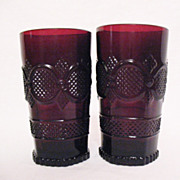 SALE Vintage Avon Cape Cod Ruby Glassware (2) Tumblers 1990 Excellent Condition