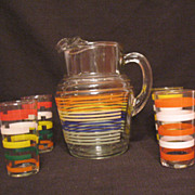SALE Vintage Anchor Hocking Pitcher with Ice Lip & (4) Glasses 1950-60s Excellent Condition