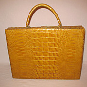 SALE Vintage Mid-Century Faux Alligator Leather Briefcase Signed Inside Murray Kruger Excellen