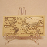 Vintage Hard Plastic Pencil Case Map of The World Educator 1961 Excellent Condition