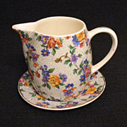 Vintage Collectible  Erphila Dorset Pattern Cheery Chintz Gold Trim Syrup & Under plate ...