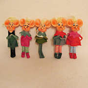 SOLD Vintage Collectible (5) Pixie Like Singing Mice Christmas Ornaments Felt Clothing Over Bo