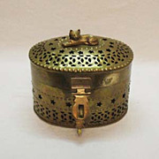 SOLD Vintage Brass Vanity/Sewing Oval Box with Cat On Top Made in India 1950-60s Very Good Con