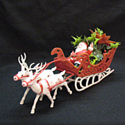SALE 10% OFF Vintage Santa in Sled 1950-60s Very Good Condition
