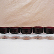 Vintage Arc International Arcoroc (5) Ruby Red Tempered Glass Sherbets 1960-70s Excellent Cond