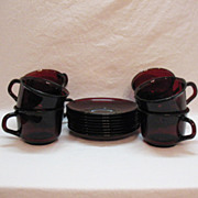 Vintage Arc International Arcoroc (7) Cup & Saucer Sets Ruby Red Tempered Glass 1960-70s Excel