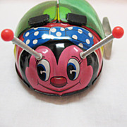 SALE Vintage Japanese Tin Toy Flapping Lady Bug 1960s Works Very Good Condition