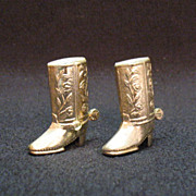 Vintage Collectible S&P Shakers in Shape of Cowboy Boots with A Gold Wash over ...
