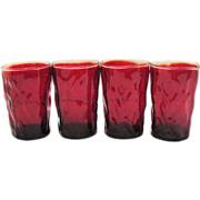 SALE Vintage Morgantown Ruby Red Crinkle Glass Tumblers 1960-71 Excellent condition