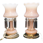 SOLD Vintage Mid-Century Electric Boudoir Pink Satin Glass Lamps with Prisms Excellent Conditi