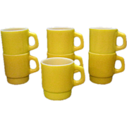 SALE (7) Vintage Anchor Hocking Yellow Stackable Cups 1960s Very Good Condition