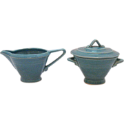 SALE Vintage Homer Laughlin Harlequin Sugar & Creamer Set Turquoise Color Excellent Condition