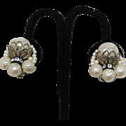 SALE Vintage Miriam Haskell Pearl Rhinestone Earrings