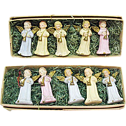 SALE Vintage Christmas Hard Plastic Angel Figurines Made in Western Germany US Zone Original .
