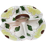 Vintage Blue Ridge Southern Pottery Divided Dish 1940-50s Yellow Flowers Green Leaves & Vines