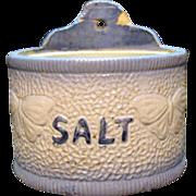 Vintage Salt Glazed Stoneware  Salt  Holder Butterfly Motifs 1890-1930 Good Condition.