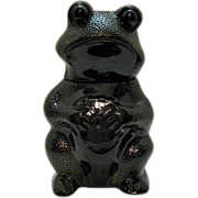 SOLD Ceramic Frog Cookie Jar Having Stipple design Made in USA Very good Condition