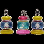 SALE Three Unsilvered Lantern Shaped Glass Christmas Tree Ornaments 1942-45 Very Good Conditio