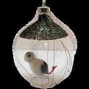 SALE Czechoslovakia Wire Wrapped Glass Christmas Tree Ornament Bird On A Swing Very Good ...