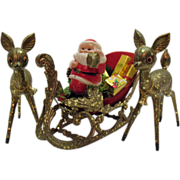 SALE Very Nice Santa In Sleigh with Deer Display Hard Plastic Encrusted Mica Very Good ...