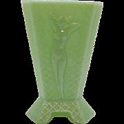 SOLD Vintage Art Deco McKee 3 Sided Jadeite/Jade Vase Nude Woman Motif Very Good Condition