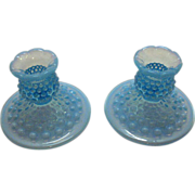 SALE Vintage Fenton blue Opalescent Hobnail Candle Holders still in Excellent Condition