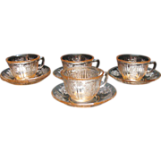 Vintage Federal Glass Co. Sharon/Cabbage Rose Pink Depression 4 Sets Cup & Saucer Plus Extra .