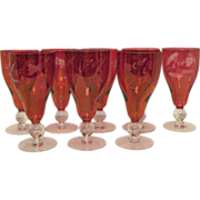 SOLD 8 Elegant Ruby Flashed Water Glasses with Unknown Cut Design 1950-60s Very Good Condition