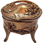 SOLD Vintage Jewelry Casket/Box Copper Plated Art Nouveau Design Very Good Condition