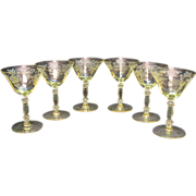 (6) Vintage Cambridge Yellow Champagne/Tall Sherbets Stemware Apple Blossom Etching Very Good