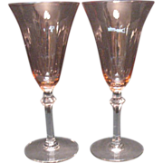 (2) Vintage Pink Water Glasses 1930-40s Very Good Condition