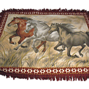 SALE Vintage Pictorial Blanket Three Running Horses Fringes Very Good Condition