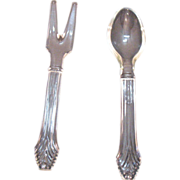 Vintage Imperial Crystal Glass Salad Spoon & Fork Set 1940-50s Very Good Condition