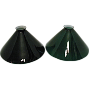 SOLD Vintage Emerald Cone-Shaped Glass Shades 1930-40s Good Condition