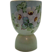 SOLD Vintage Porcelain Egg Cup with Floral Motif Gold Paint on Rim