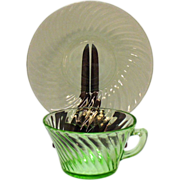 Vintage Hocking Glass Co. 5 Cup & Saucer Sets Green Depression glass in Spiral Pattern ...
