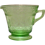 Vintage Federal Glass Depression glass Green Creamer Patrician Pattern 1933-37 Very Good ...