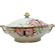 Vintage Noritake Porcelain Round Covered Vegetable with Gold Finial Azalea Pattern #19322 Very