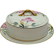 Vintage Noritake Porcelain Round Butter Dish in the Azalea Pattern #19322 Very Good Condition
