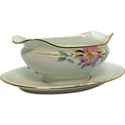 Vintage Noritake Porcelain Gravy Boat with Attached Under plate in the Azalea Pattern #19322 .