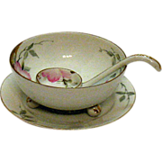 SALE Vintage Nippon Whipped Cream Server Set Azalea Pattern #19322 Hand Painter Very Good ...