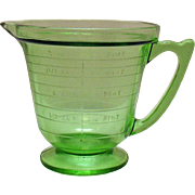 SALE Vintage T & S Handimaid Two Cup/Pint Green Depression glass Measuring Pitcher Very ..