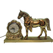 SALE Vintage Western Horse Working Mantel Clock 1930-40s Very Good Condition