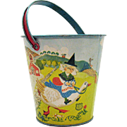 SOLD Vintage Chein Co. Metal Mother Goose Sand Pail 1930s Very Good Condition