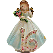 Vintage Josep Original Music Box/Figurine 16th Year Birthday Girl 1980s Very Good Condition