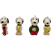 SOLD Vintage (4) Peanuts Character Ceramic Christmas tree Ornaments of Snoopy 1960s Good Condi