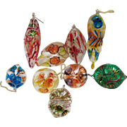 SALE Vintage 9 Italian Hand Blown & Hand Painted Thin Glass Christmas tree Ornaments from 1960
